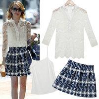 2014 summer fashion street fashion cutout lace crotch piece set  one-piece dress short skirt set free shipping!