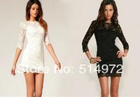 New 2014 Women Summer Flower Lace Slim Sheath O-Neck Black And White Dress Free Shipping
