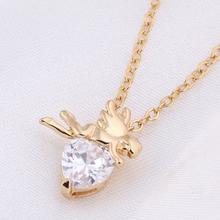 Wholesale Fashion 18K Yellow Gold Plated White Heart CZ Stylish Cupid Pendant Necklace