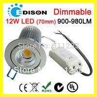 White dimmable AC 220V /240V LED downlight cob 12W