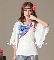 Chinese Style Embroidery Chiffon Half Batwing Sleeve Women T-shirt,FREE SHIPPING.