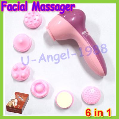 Idéia do presente 6 em 1 Wash elétrica de máquina Facial Pore Cleaner corpo limpeza massagem Mini beleza da pele massageador(China (Mainland))