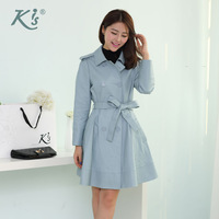 Kis 2014 women's genuine leather clothing medium-long sheepskin women's trench leather outerwear