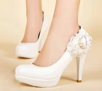 1823 Wholesale!PU Round Toe Flower Women Pumps Platform 9cm Wedding party shoes Size37-39