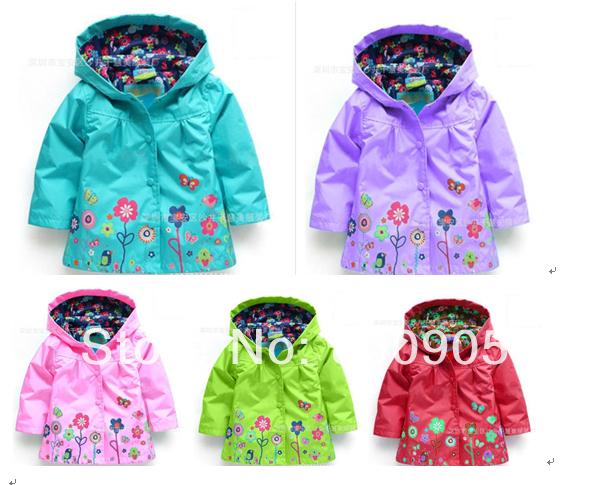 retail Girls Outerwear Beautiful Children Hoodies Kids Spring Autumn Waterproof Flowers Jackets & Coats for Baby Girl(China (Mainland))