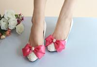 1822 Wholesale!Bow tie Pearl Women Pumps wedding shoes bridesmaid White Size36-40