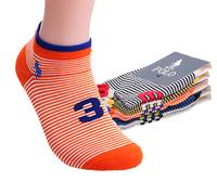 1set=5pairs New 2014 fashion high quality  letter stripy mans socks  colorful cotton sport polo men socks