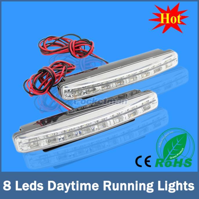 2 X 16cm 8 LED Universal Fit Car Daytime Running Light DRL Bar Head Lamp for Ford Focus Hyundai Mazda BMW Super White 12V(China (Mainland))