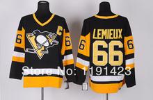 Wholesale Cheap Pittsburgh Penguins CCM #66 Mario Lemieux Black Vintage Jersey, With C patch , 1991 Stanley Cup Patch(China (Mainland))