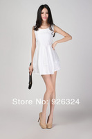 New arrival white ball gown dress sleeveless tank above knee mini dress dobby dress Jacquard Dress with extreme large size XL
