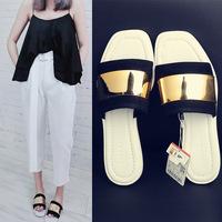 New 2014 women genuine leather shoes fashion Design sandals summer flip flops shoes
