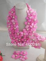 Free Shipping !!! W-655 Wonderful African Wedding Beads,Fashion Handmade Pink Shell Flower Jewelry Set