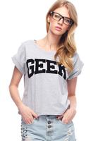 Spring 2014 new t shirt women Geek Print Grey Black girl T-shirt Crop top grey Free shipping