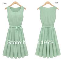 2014 New Fashion Korea Women's Elegance Bow Pleated Vest Chiffon Round Collar Sleeveless Dress Free Shipping