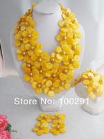 Free Shipping !!! W-656 Wonderful African Wedding Beads,Fashion Handmade Yellow Shell Flower Jewelry Set