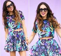 Spring 2014 t shirt women Maple Leaf Midriff T-shirt Crop Top women clothing set Fashion Tee Free shipping