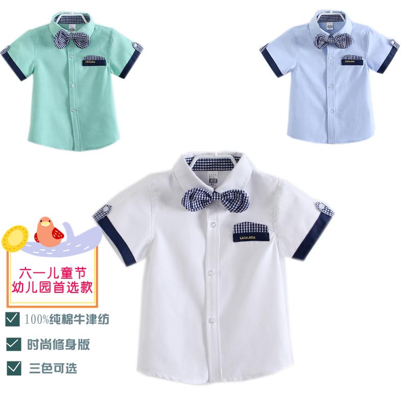 Free shipping children's clothing summer male child short-sleeve shirt 3 - 8 children british style shirt collar(China (Mainland))