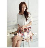 New 2014 Summer Casual Women's Charming Crewneck Chiffon Short Sleeve Floral Mini Dress Free Shipping