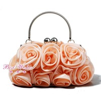 Hot-selling bride bridesmaid tote bag gentlewomen bag rose dress day clutch bag  wedding bag women clutch champagne color