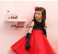 2014 Chirstmas Kids Girl Dress Red Black Baby Girl Princess Clothing Infant Dress With Bow Girl Formal Party Dress 19886