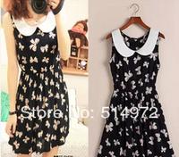 New 2014 Women Summer Doll Brought Bowknot Printing Slim Sleeveless Dress 2Pcs/Lot Free Shipping