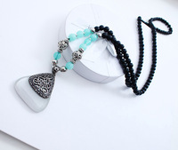 Min order $18(can mix item)2014 New Arrival Black Beads Long Chain Necklace Triangle And Square Opal Necklaces & Pendants