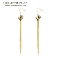 Neoglory Austria Crystal Gold Plated Tessel Heart Dangle Long Earrings for Women 2014 New Brand Love Brand