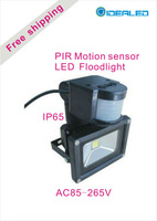Free shipping by FEDEX 10W LED Floodlight with PIR 10pcs/lot AC85-265V COB LED Landscape Lighting