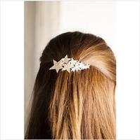 Popular DIY Wholeslae Retail 6pcs/lot Pentagram Hair Clip Metallic Golden Pear Flower Hair Claw Hair Accessory