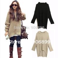 2014 Sale Rushed Full Pullover Warm Sweater with Neck Women Popular Korean Womens Loose Irregular Hem Sweater Fashion Outerwear