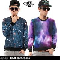 Hiphop marine tie-dyeing gradient sweatshirt lovers three-color