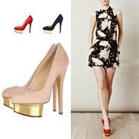 Women platform high heels pumps mental platform red bottom solid women shoes 2014 spring summer for female,35-40