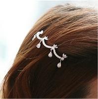 Perfect DIY Wholeslae Retail 6pcs/lot Water Lotus Hair Clip Diamond Sliver Hairpin Hair Jewelry