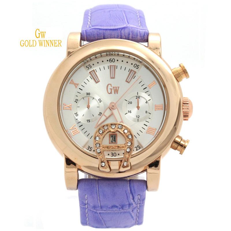 Gold Winner Brand New Fashion Casual Sport Wristwatch Elegant Women Girl Leather Quartz Watch Water Resistant Watches GW180046(China (Mainland))