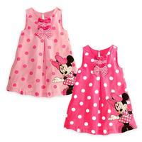 5Pcs/Lot 2014 New Cute Baby Girls Summer One-piece Dress Children Sundress Kids Cute Minne Sleeveless Dress Free Shipping