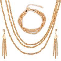 Women Wedding Bridal Jewelry 18K Yellow Gold Plated Multi Layered Barrel Mesh Chain Necklace Earrings Bracelet Jewelry Set