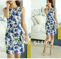 New 2014 Women Summer Vintage Elegant Printed Sleeveless Package Hip Dress Free Shipping