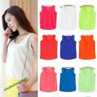 Hot New Women Chiffon Sleeveless Shirt Summer Women's Clothes Vest Tank Tops Blouse Waistcoat 3 Size 13 Colors Free Shippng