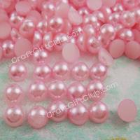 1000 Pink Pearl Rould Bead Flat Back Wedding Scrapbooking Confetti Nail Art Craft 4mm