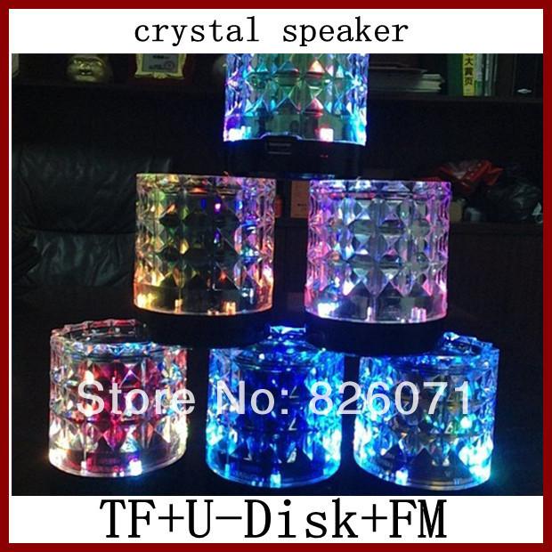 8PCS Crystal transparent colorful lights Mini Portable Speaker/sound box/audio with tf slot, u-disk,fm(China (Mainland))