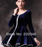 New Arrived TOP Quality Brand  casual cute dress women dresses  2014 winter dress  Sapphire/ black S M L XL XXL XXXL Wholesale