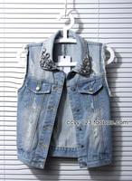 2014 Summer fashion women diamond short design denim vest outerwear sleeveless vest S-4XL free shipping