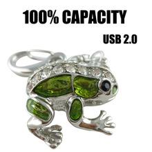 NEW Free Shipping Hot Sale Cute frog USB Flash Drive Case USB Flash Disk Gift Metal Pen Drive 2GB 4GB 8GB 16GB 32GB 64GB USB2.0(China (Mainland))