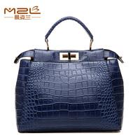 2014 spring fashion crocodile pattern handbag shoulder bag vintage rotation lockbutton women's handbag