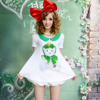 Lovable Secret -  white xiangpin green peter pan collar loose a bear print short-sleeve T-shirt  free shipping