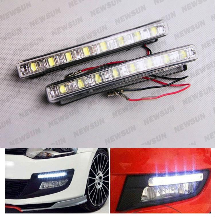 2PCS Xenon White LED Car Auto DRL Parking Driving Daytime Running Lamp Fog Light Head Lamp 8 LED DRL Daylight Kit Super White(China (Mainland))