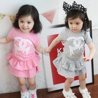 New 2014 Girls Clothing Sets Summer Print Cotton Baby Kids Clothes Set Shirt+Skirt 2 pcs For 3-7 Age Children Dress clothing set