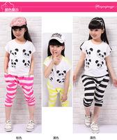 hot sale new 2014 kids clothes sets summer wear short sleeve set suit t shirt+pants striped panda clothing set