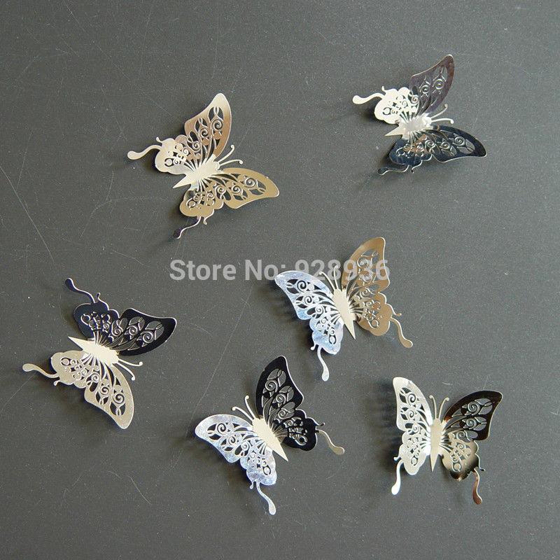 Livraison gratuite 50 46mm 3d papillon sticker mural for Decoration murale papillon 3d
