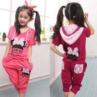 2014 new hot sale Children Minnie sets/baby girl sport pant suit children clothing set,kids clothes set (T-shirt+pants)
